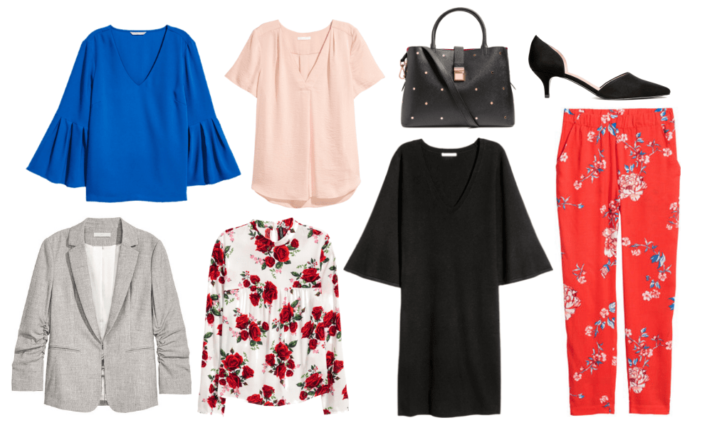 Workwear from H&M: Best stores for business casual clothes on a budget including blue bell sleeve top, blush pink button-down shirt, gray blazer, floral blouse, black bell sleeve top, red floral print trousers, black studded satchel bag, low heel d'orsay heels
