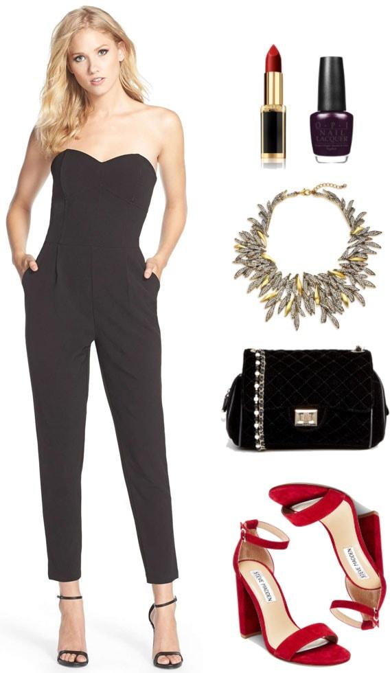 Black strapless sweetheart-neckline, L'Oreal Paris X Balmain Lipstick in
