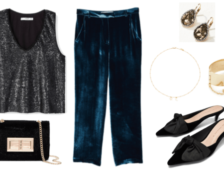 Black sequined sleeveless v-neck top, black faux calf-hair clutch with gold chain-strap and turn-lock, deep blue pleated velvet pants, gold teardrop drop earrings with brown stone and clear pavé stones, gold beaded chain necklace with star and moon, wide gold cuff bracelet with chain and
