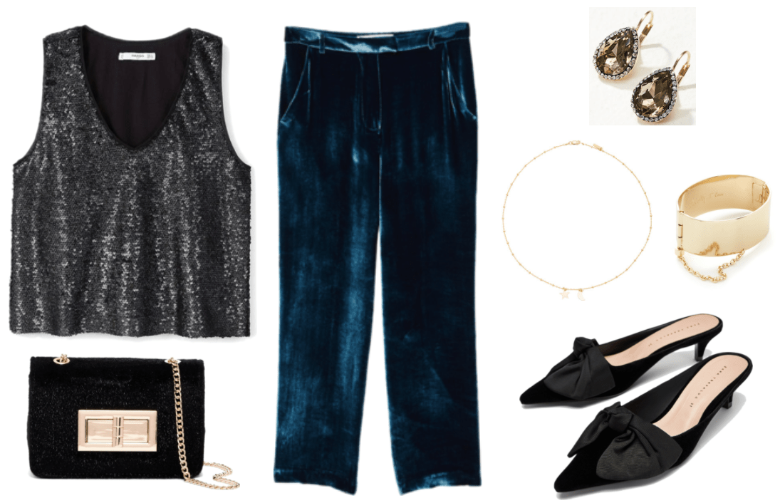 """Black sequined sleeveless v-neck top, black faux calf-hair clutch with gold chain-strap and turn-lock, deep blue pleated velvet pants, gold teardrop drop earrings with brown stone and clear pavé stones, gold beaded chain necklace with star and moon, wide gold cuff bracelet with chain and """"Actually, I can"""" engraving on inside, black pointed-toe kitten heel mules with large black bow at front"""