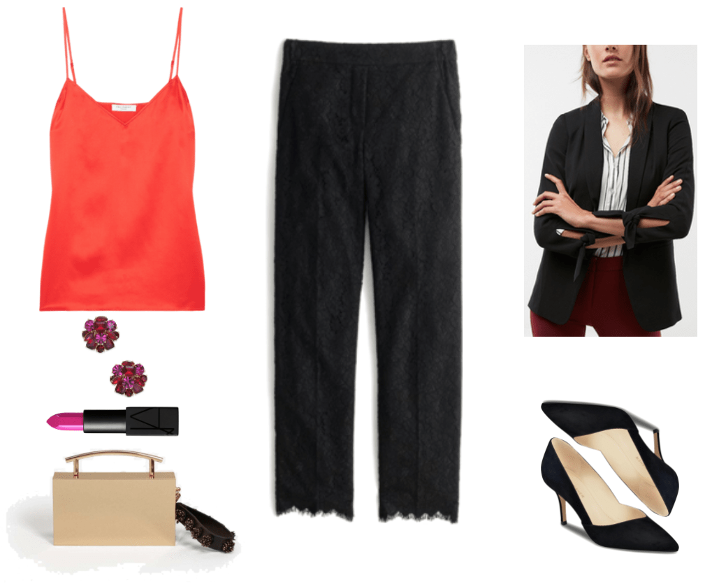 """Tomato-red silk-satin camisole, red and fuchsia cluster stone earrings set in gold, Nars Audacious Lipstick in """"Michiyo,"""" a neon fuchsia shade; gold metal box clutch with handle and black bead-embellished strap, black lace pants with elastic waist, black blazer with tie sleeves, black suede pointed-toe heels"""