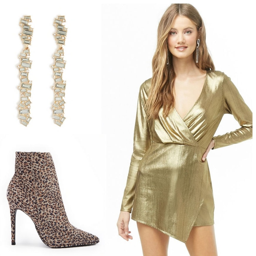 Holiday party outfit idea: Gold wrap mini dress, drop earrings, leopard print ankle boots