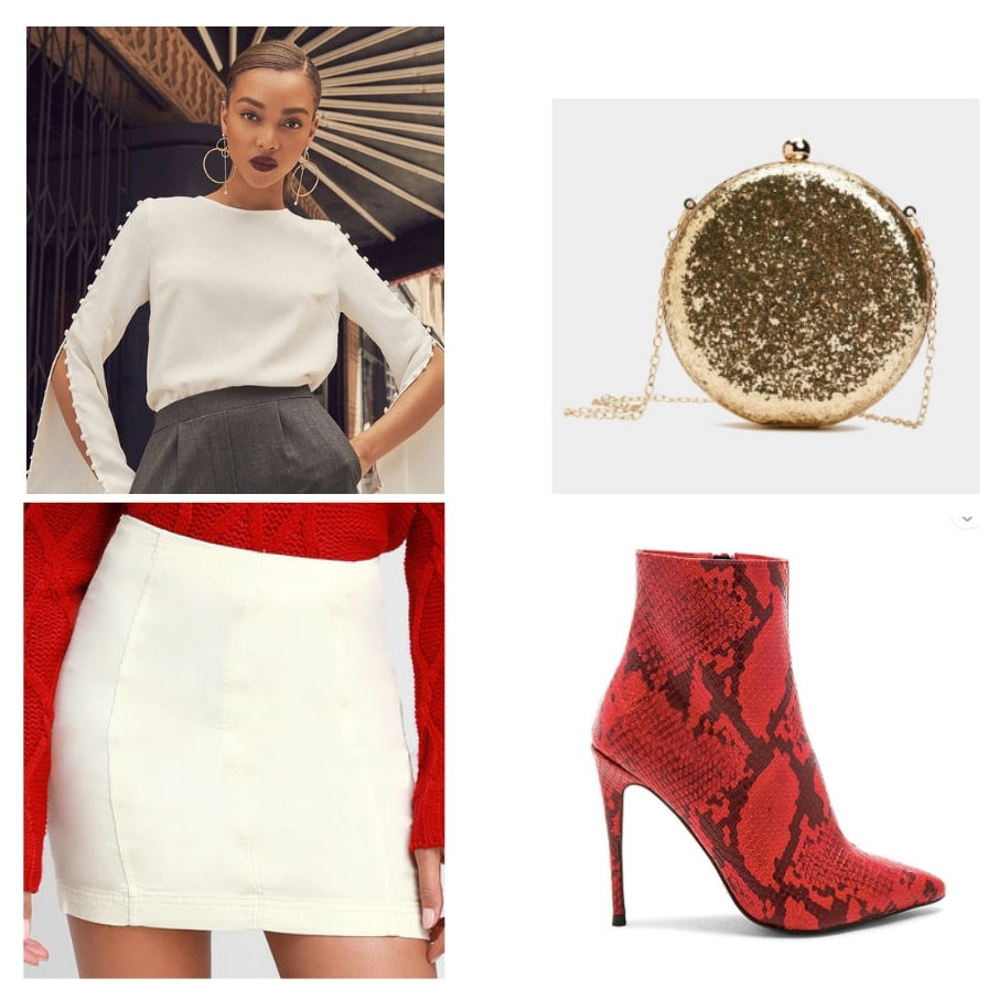 Holiday party outfit idea with white sweater, white mini skirt, gold glitter circle chain strap bag, and red snakeskin ankle boots