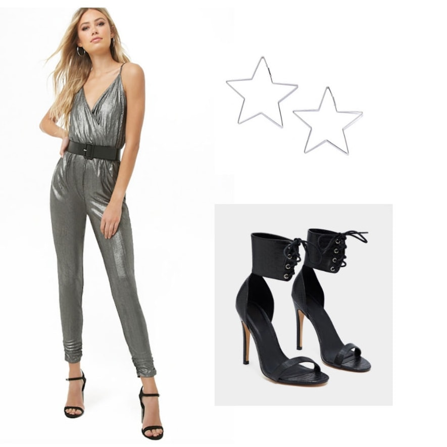 Holiday party outfit with silver jumpsuit, black suede ankle wrap heels, and star earrings