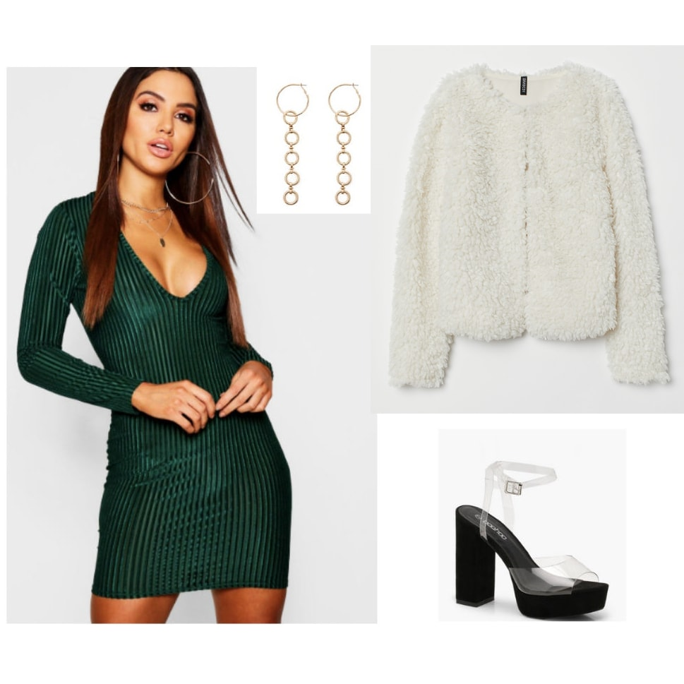 Holiday party outfit idea: Green v-neck dress, faux fur jacket, gold drop earrings, clear heels