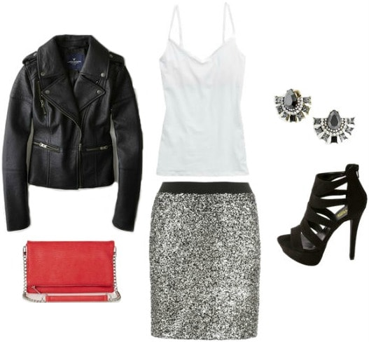 Holiday party outfit sequin skirt moto jacket