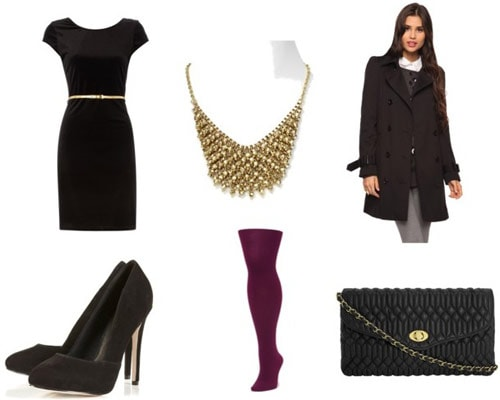 Dressed up holiday party outfit: LBD, belt, necklace, bright tights, heels, chain strap purse, pea coat