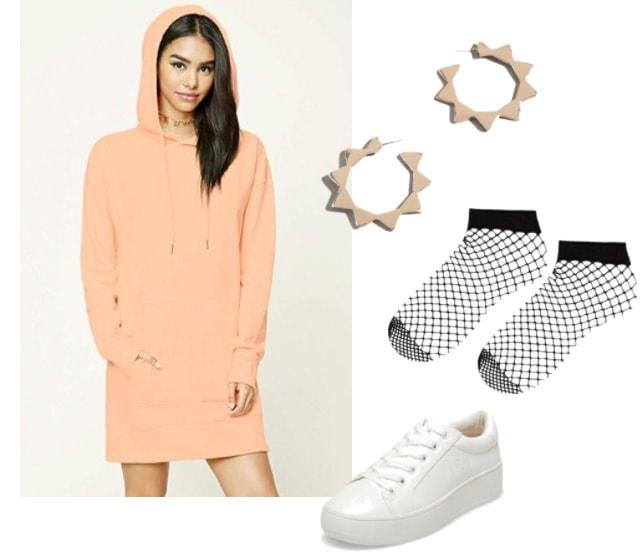 Hooded sweatshirt dress outfit: Coral pink sweatshirt dress with geometric hoop earrings and white platform sneakers