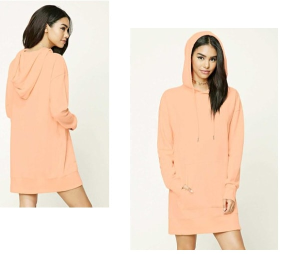 hooded sweatshirt dress in coral from Forever 21