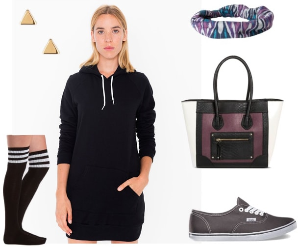 How to wear a hoodie dress for daytime with knee-high socks, sneakers, a cool tote bag, and a headband