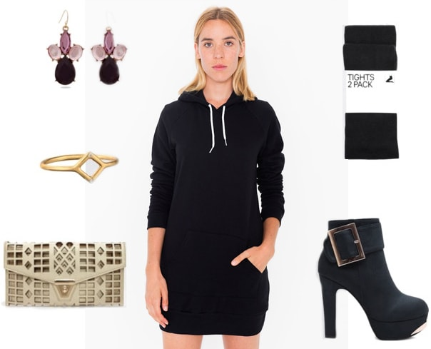How to wear a hoodie dress at night with ankle boots, a clutch, and tights