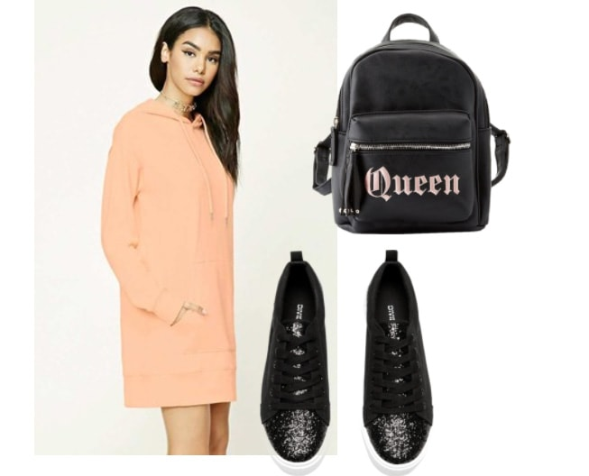 Hooded sweatshirt dress outfit: Coral pink sweatshirt dress with black backpack that reads
