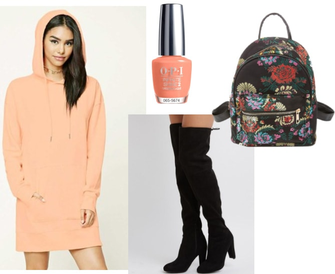 Hooded sweatshirt dress outfit: Coral pink sweatshirt dress with suede over-the-knee boots, floral backpack, coral nail polish
