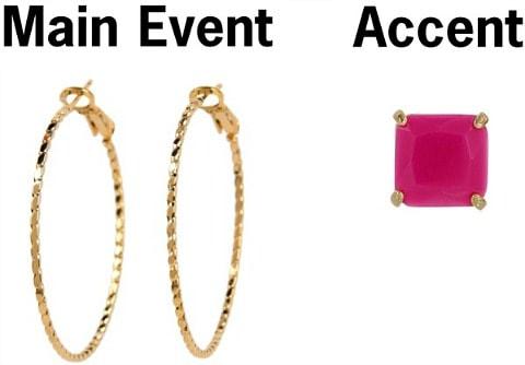 Hoops pink stud earring pairing