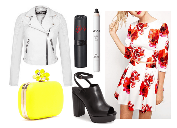 floral matching set and white leather jacket
