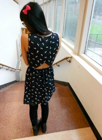 College street style: Horse print dress