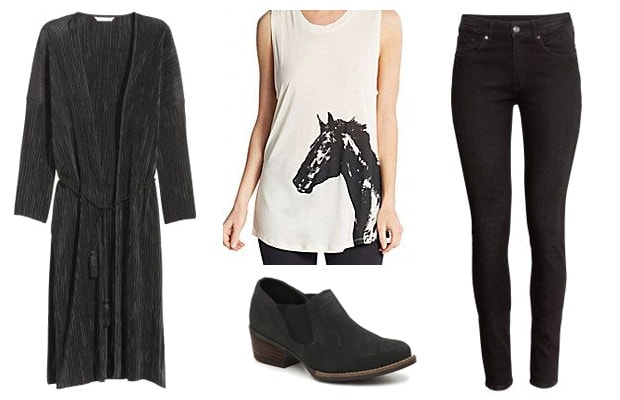 Horse print tee spring outfit