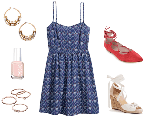 blue sundress blood orange lace-up flats white lace-up espadrilles ornamental earrings essie pink polish stackable rings
