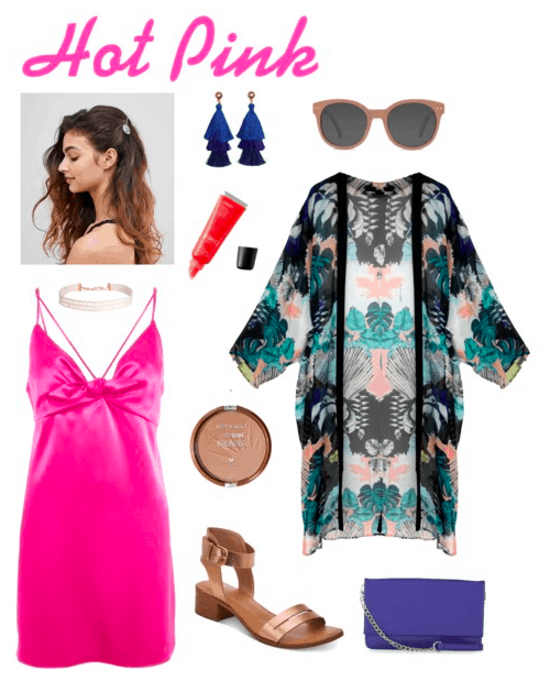 hair clip, choker, pink dress, bronzer, sandals, tassel earrings, lip gloss, sunglasses, kimono, purse