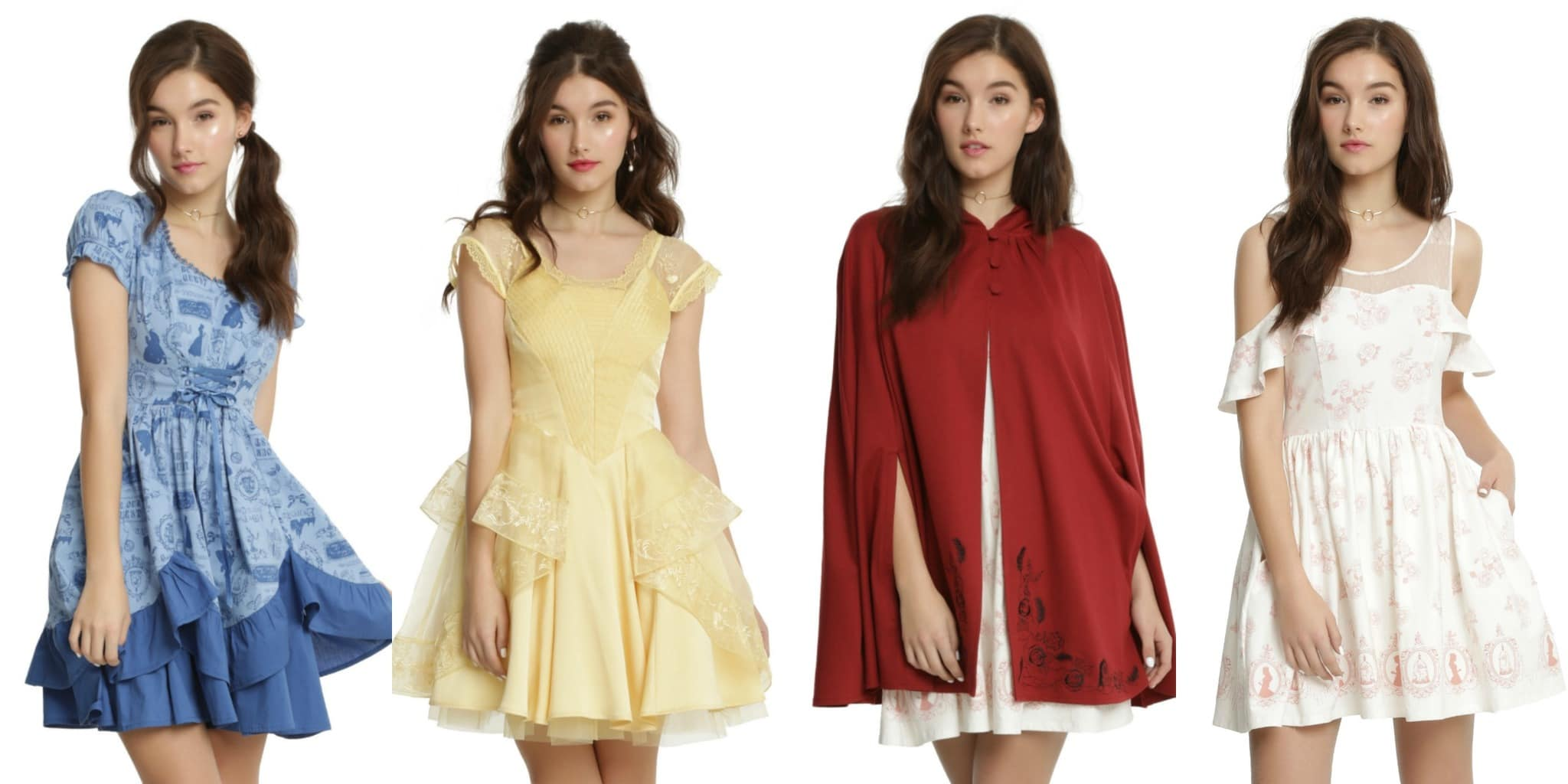 Beauty and the Beast clothing from Hot Topic - blue dress, yellow dress, red cape, white dress