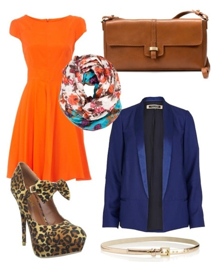 Outfit inspired by House of Holland Fall 2011 - animal print skirt, tee shirt, navy blazer, brown accessories