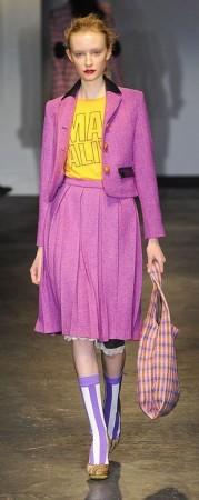 House of Holland Purple Midi Skirt with yellow tee