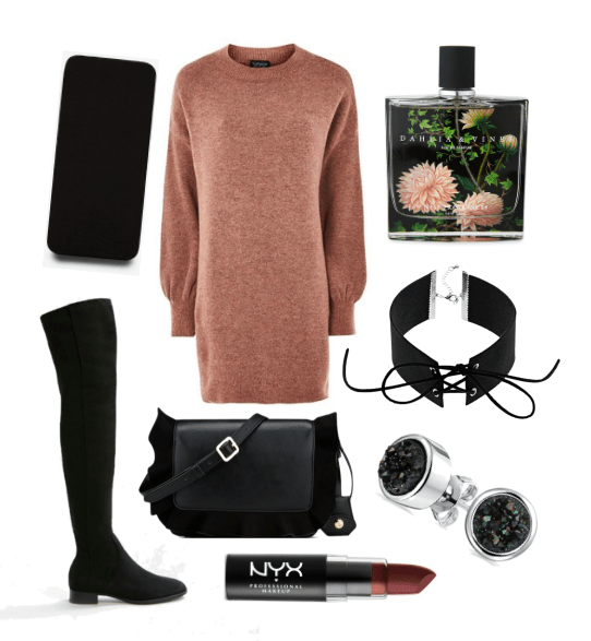 What to wear out with coworkers: Outfit for house party at a coworker's house with pink sweater dress, black over-the-knee boots, choker, black cross-body bag and bold lipstick