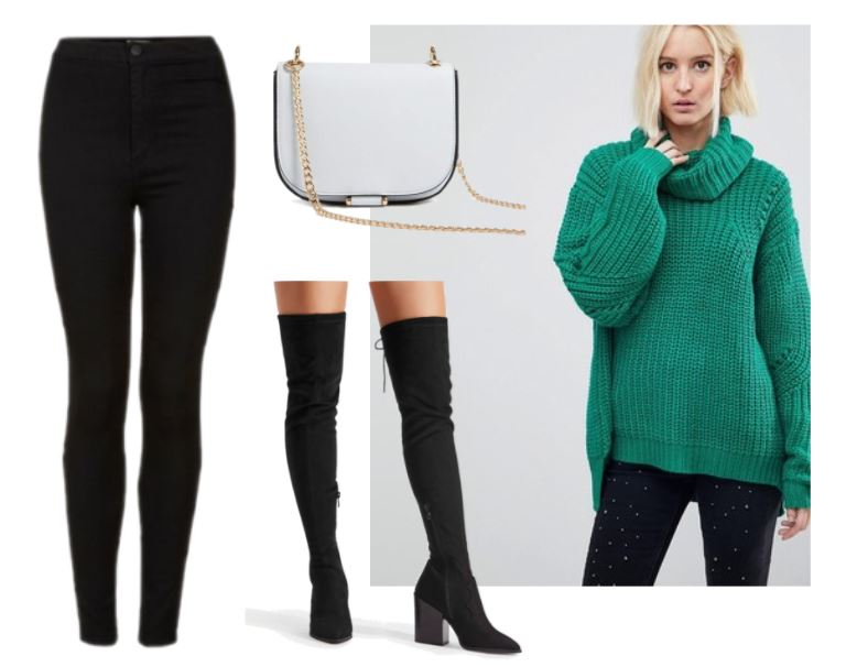 Sophisticated style: Green turtleneck sweater, black leggings, black suede over the knee boots, gray crossbody purse with gold chain strap