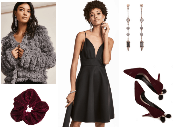 Dressed up way to wear a scrunchie: Furry sweater, black dress, pom pom heels, dangly earrings