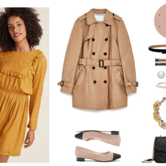 """""""How to Rock a Beret if Your Style is Preppy, Casual, Feminine or Boho"""" Outfit #3: Feminine featuring long-sleeved a-line mustard-colored dress with elasticized waist and ruffle detail, medium beige short double-breasted trench coat, light beige pointed-toe flats with black cap toe and black small heel, pale dusty-pink beret with gray embroidered stars, black velvet bow belt with patent-leather-piped edges, Kat Von D Everlasting Liquid Lipstick in Lolita II, a terracotta brownish-pink shade; pearl stud earrings with gold posts, skinny gold hinged bangle with clear stones at front, gold fan bib statement necklace with pale pink and leaf-shaped clear stones and rose gold faux leather leaf-shaped details, black quilted bag with gold chain-strap and hardware"""