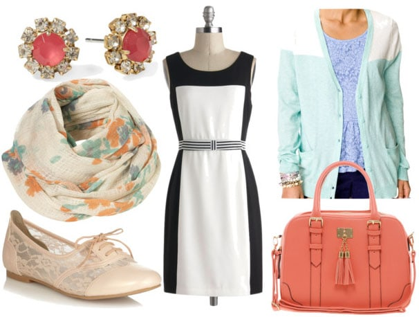 How to style a black and white dress for day with mint cardigan coral bag floral scarf lace brogues and pink studs