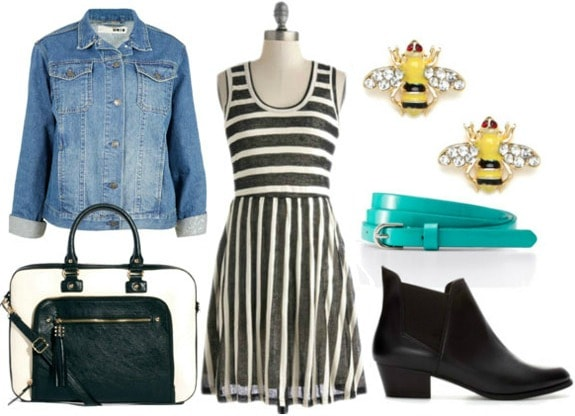 How to style a black and white striped dress day