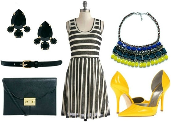 How to style a black and white striped dress night