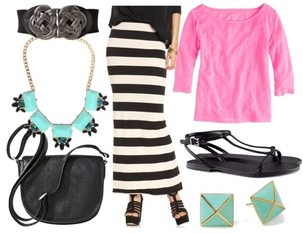 How to style a black and white striped maxi skirt for day with pink long sleeved tee flat black sandals black shoulder bag black braided waist belt aqua statement necklace and studs