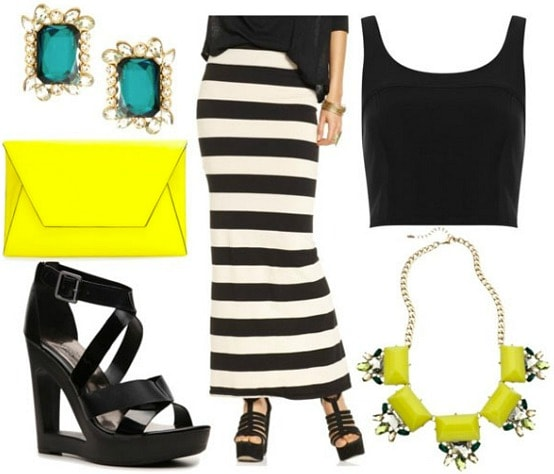 How to style a black and white striped maxi skirt for night with cropped black tank black wedges yellow tab statement necklace yellow clutch and teal crystal studs