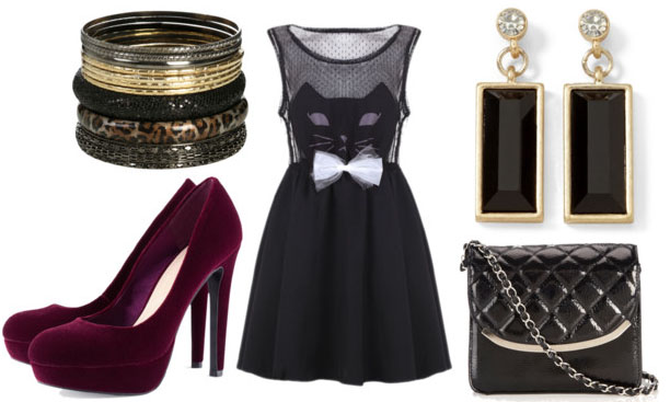 how to style a cat dress for night with velvet plum pumps quilted cross body bag leopard bangles and black jewel drop earrings