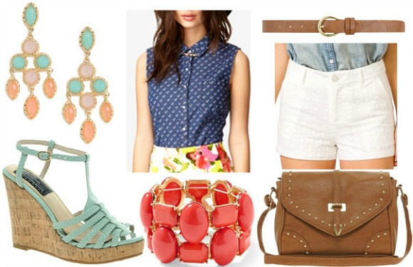 How to style a chambray top for night with eyelet shorts tan belt tan cross body bag mint wedges coral bracelet and pastel drop earrings