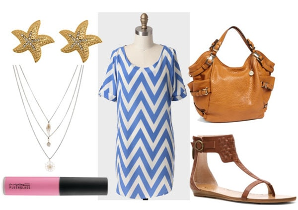 How to style a chevron dress for day with flat brown sandals layered necklace pink lipgloss gold starfish earrings brown hobo bag