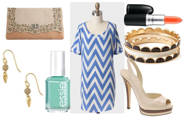 How to style a chevron dress for night with nude pump sandals scallop bangles turquoise nail polish gold drop earrins embellished clutch and orange lipstick