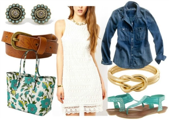 How to style a crochet dress for day: printed belt, denim shirt, turquoise sparkly sandals, knot bracelet, floral tote, and turquoise earrings