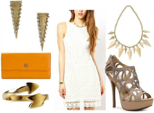 How to style a crochet dress for night: sparkly gladiator pumps, arrowhead statement necklace, spiked triangle drop earrings, orange clutch, and arrow wrap ring