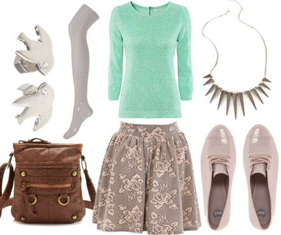 How to style a floral skater skirt for day with mint sweater gray tights metallic brogues brown crossbody bag spiked necklace and bird studs