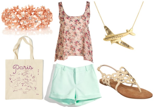 how to style a floral tank for day with mint shorts white studded sandals paris tote floral bracelet and airplane charm necklace