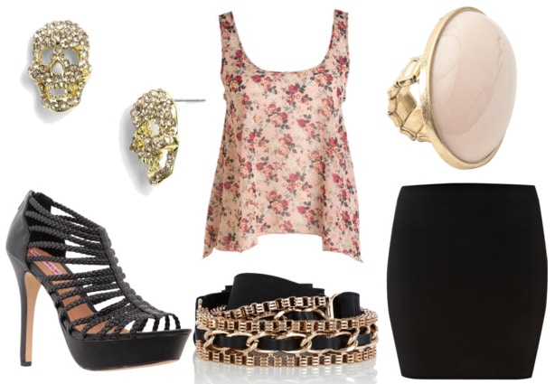 how to style a floral tank for night with black bodycon skirt chain waist belt black gladiator heels skull earrings and pink cocktail ring