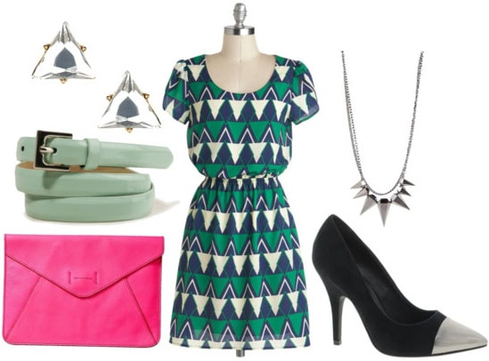 How to style a geometric print dress for night with silver toe black pumps spike necklace mint belt hot pink clutch triangle crystal studs