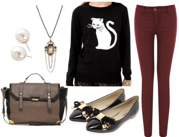 how to style a graphic sweater for day with wine jeans black bow flats two tone satchel cameo necklace and pearl studs