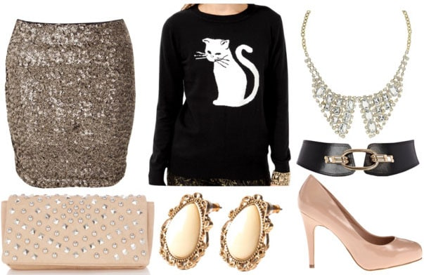how to style a graphic sweater for night with gold sequin skirt studded pink clutch nude heels collar necklace black waist belt and ivory earrings