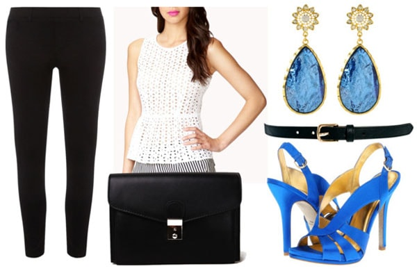 How to style a lace peplum top for night with black cropped jeggings black clutch cobalt sandal pumps sapphire teardrop earrings and black waist belt
