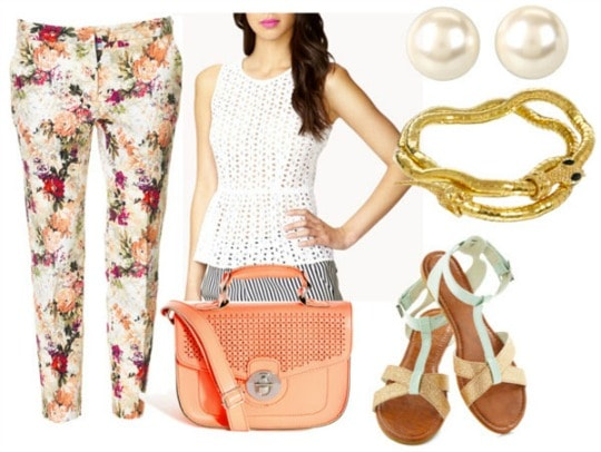 How to style a lace peplum top with cropped floral pants coral satchel mint and gold sandals gold snake bracelet and pearl studs