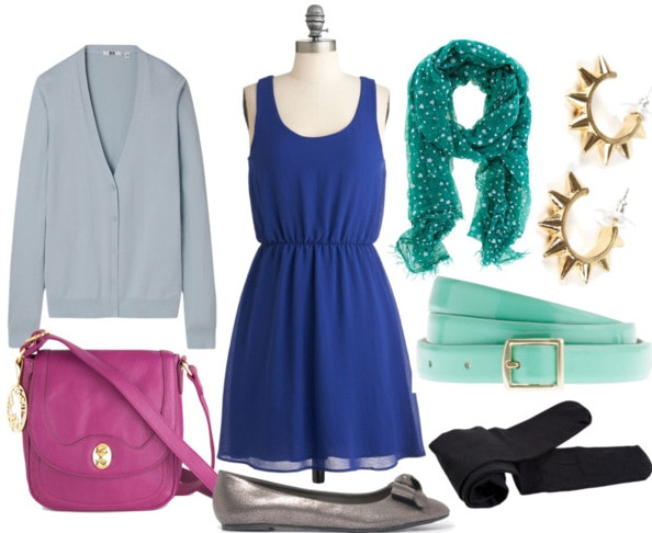 How to style a little blue dress for day with gray cardigan fuchsia bag silver flats black tights mint belt teal scarf and spiked hoops